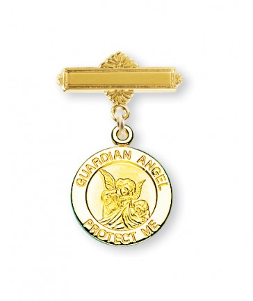 14KT Gold Over Sterling Silver Baby Guardian Angel Medal On A 14KT Gold Plated Bar Pin