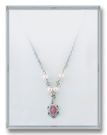 "4mm Pink Swarovski Pearls with Sterling Silver Pink Enamel Miraculous Pendant 18"" Chain"