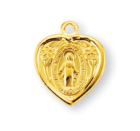 Gold over Sterling Silver Heart Shaped Miraculous Medal