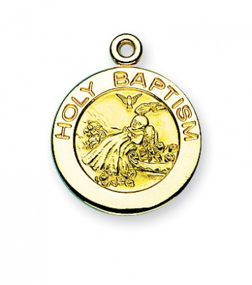 Gold over Sterling Silver Round Shaped Holy Baptism Medal