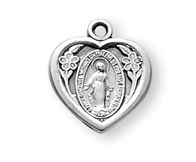 Sterling Silver Heart Shaped Miraculous Medal