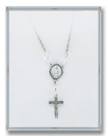 4mm Swarovski Crystal Pendant with Sterling Silver Miraculous Medal and Crucifix 18""