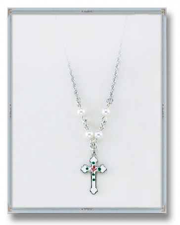 "4mm White Swarovski Pearl Pendant with Sterling Silver Enameled Crucifix 18"" Chain"