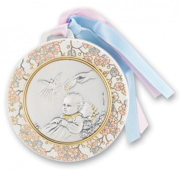 "3 1/2"" Sterling Silver Baptism Crib Medal"