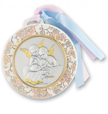 "3 1/2"" Sterling Silver Crib Medal w/Baby and Guardian Angels Praying"