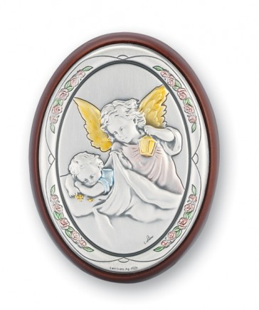 "3"" x 2"" Sterling Silver Guardian Angel Watching Over Baby Plaque"