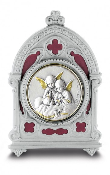 Antique Pewter Frame with Sterling Silver Baby with Angels Image
