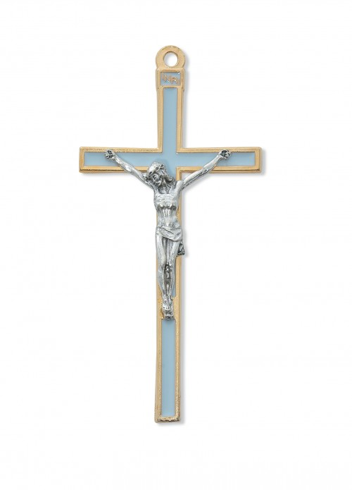 "5"" GOLD CRUCIFIX W/BLUE ENAMEL"