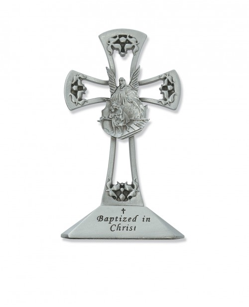 "4"" PEWTER STANDING BAPTISM CROSS"