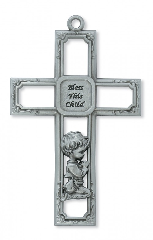 "6"" PEWTER BABY BOY CROSS"