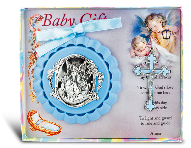 BLUE CRIB MEDAL WITH CRUCIFIX