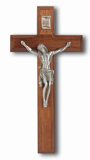 "7"" WALNUT CROSS WITH GENUINE PEWTER CORPUS"